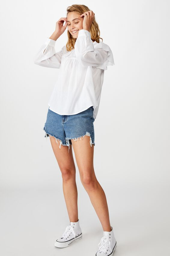 Lace Smock Blouse, WHITE