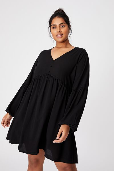 Curve Woven Linda Long Sleeve Mini Dress, BLACK