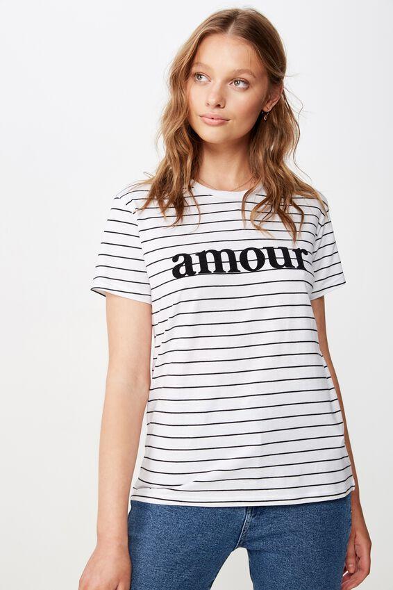 Classic Slogan T Shirt, AMOUR WHITE/BLACK STRIPE