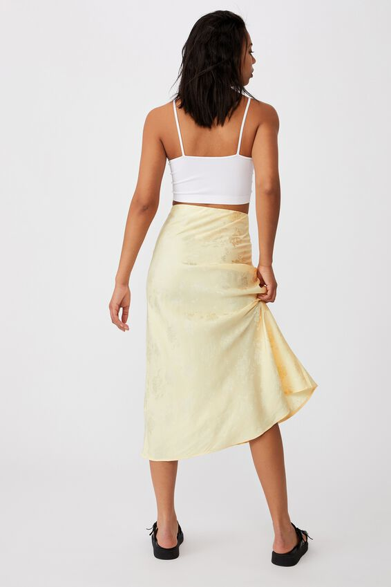 All Day Slip Skirt, PASTEL YELLOW FLORAL JACQUARD