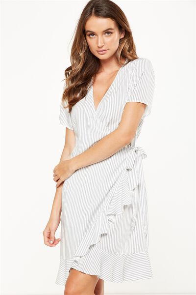 Woven Charli Short Sleeve Wrap Dress, LENA VERTICAL STRIPE TOTAL ECLIPSE