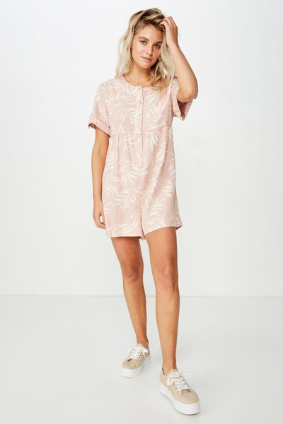 Woven Brielle Short Sleeve Playsuit, HOLLY PALM MISTY ROSE