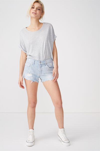 Mid Rise Saturday Denim Short, SOFT FADED BLUE