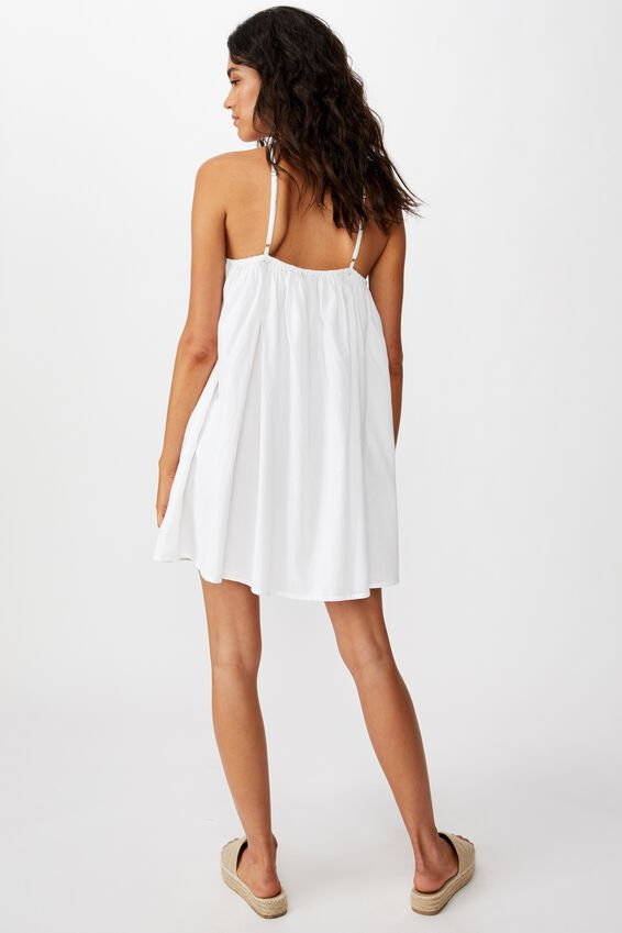Woven Haven Halter Mini Dress, WHITE