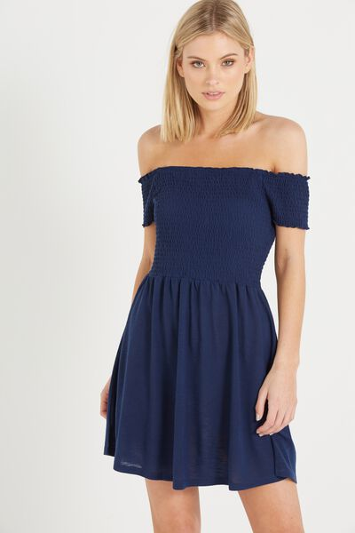 Lindi Off The Shoulder Dress, SPACE NAVY