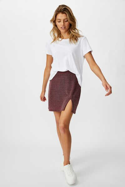 Brandy Mini Skirt, GARNET SPARKLE