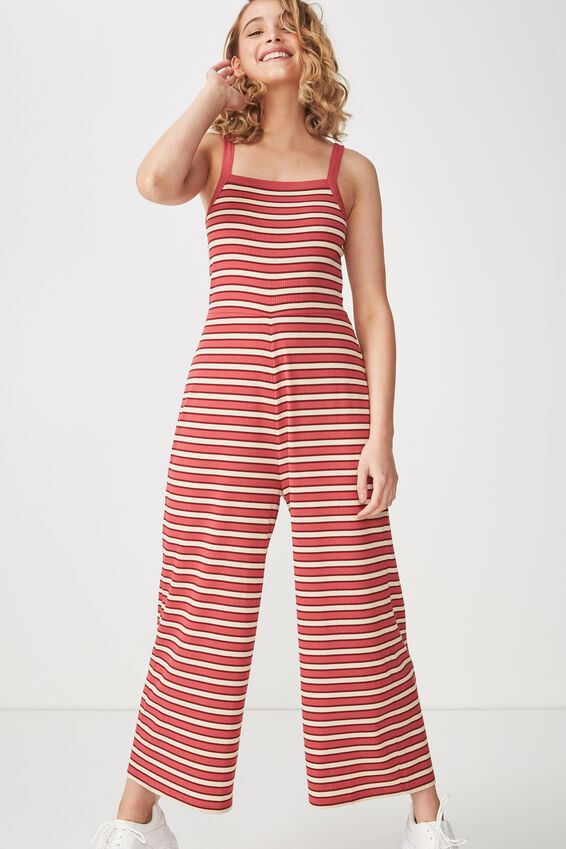 Valerie Strappy Wide Leg Jumpsuit, GRACIE STRIPE RED RIB