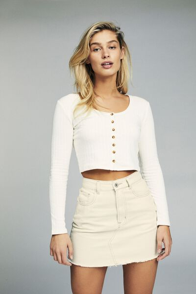 The Classic Denim Skirt, BONE WHITE