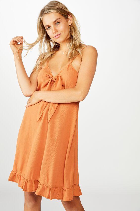 Woven Kiara Tie Front Mini Dress, AUTUMN LEAF