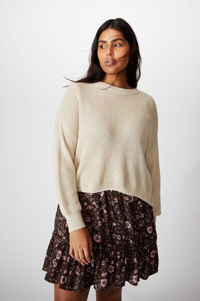 Curve Crop Pullover, OATMEAL MARLE