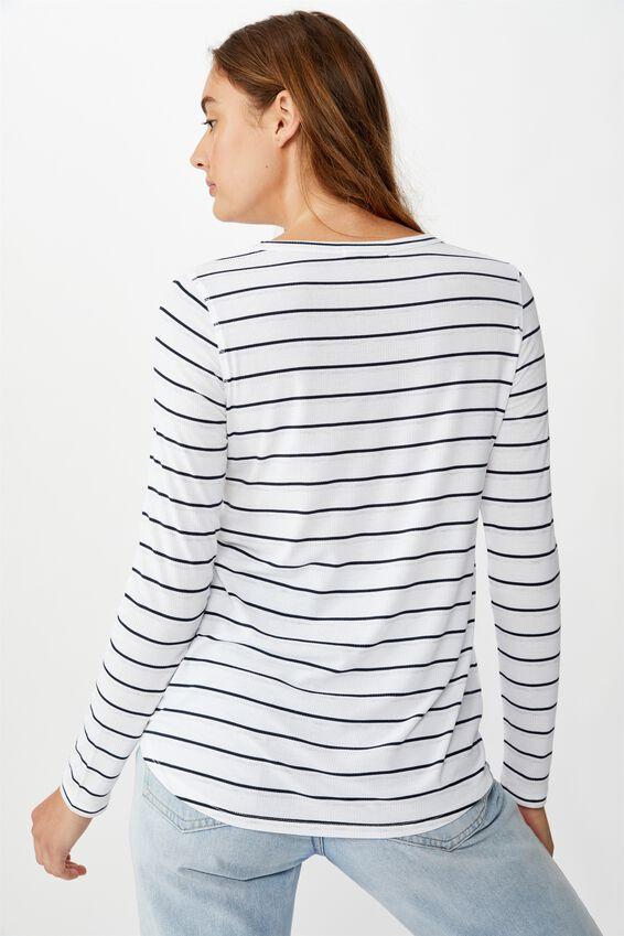 The Girlfriend Long Sleeve Top, ADRIAN STRIPE WHITE/MOONLIGHT