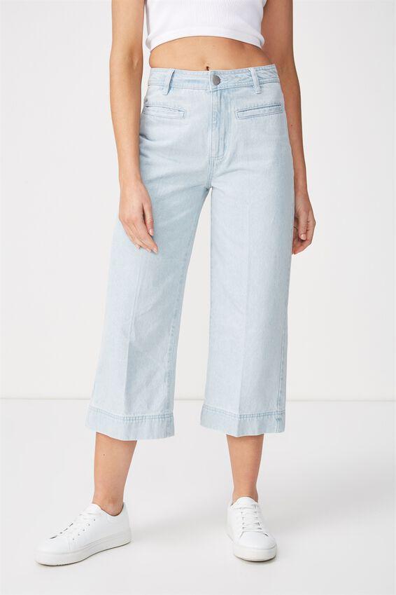 High Rise Wide Leg Crop Jean, BABY BLUE WELT POCKET PRESS