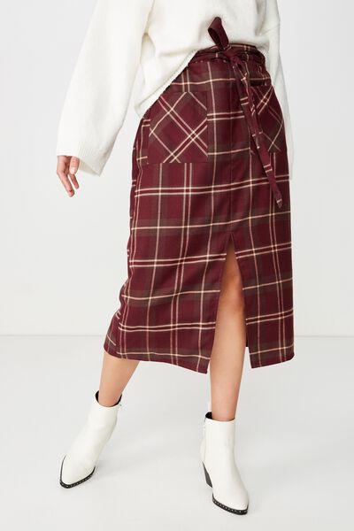 Woven Mindy Midi Skirt, KARLA CHECK FIG
