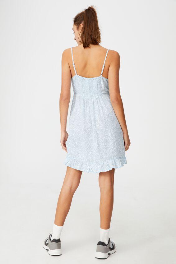 Woven Kiara Tie Front Mini Dress, PHOEBE DITSY NEW WAVE BLUE