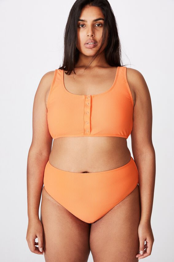 Curve Henley Scoop Crop Bikini Top, PEACH RIB