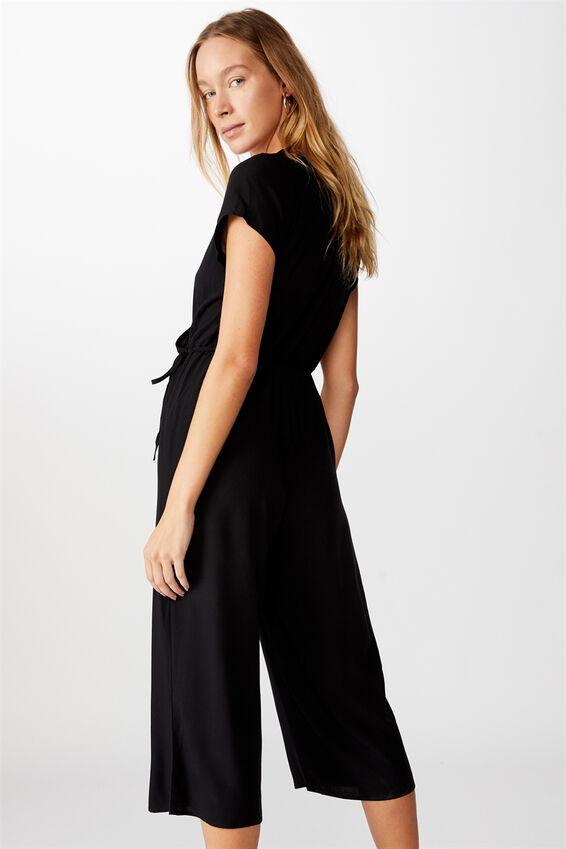 Woven Jamie Short Sleeve Jumpsuit, BLACK