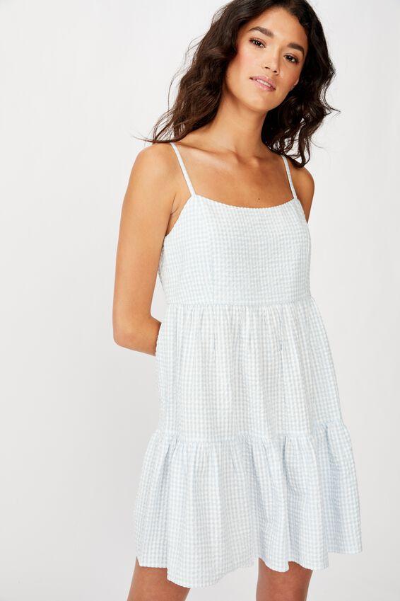 Woven Birdie Tiered Mini Dress, CERLEAN/WHITE GINGHAM