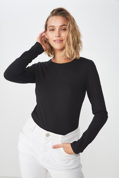 Everyday Long Sleeve Crew Neck Top, BLACK
