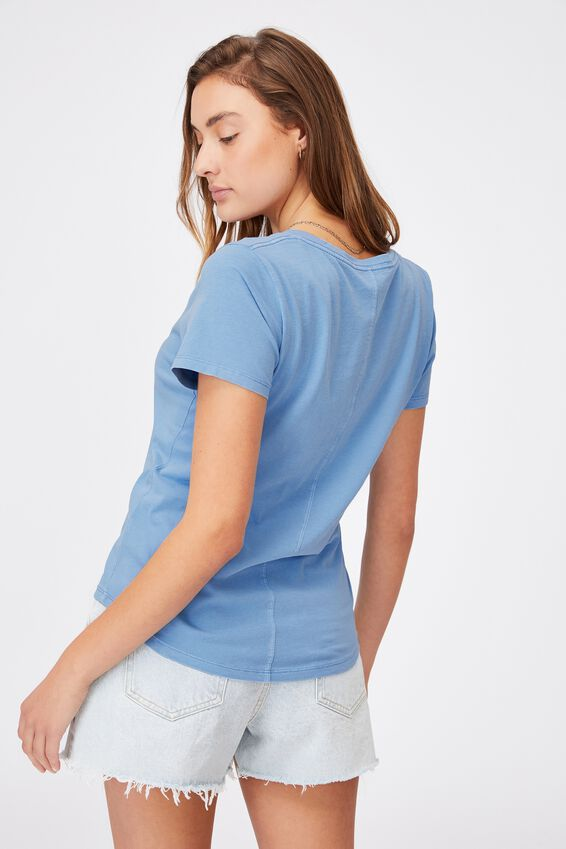 The One Fitted V Tee, WASHED AUTHENTIC BLUE