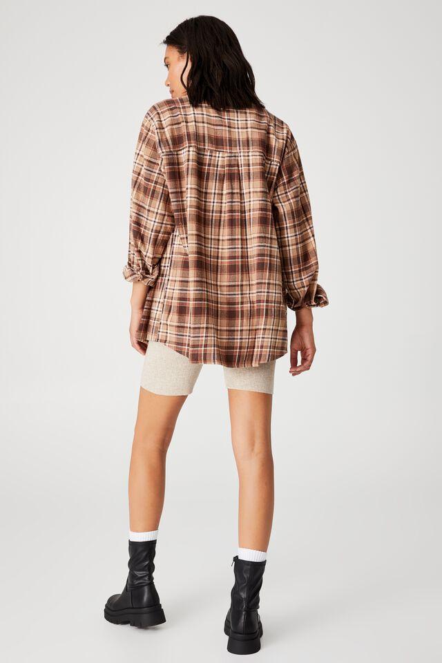 Boyfriend Shirt, RICKY CHECK LEAF BROWN