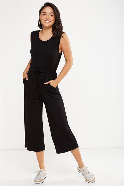 Petra Sleeveless Jumpsuit, BLACK