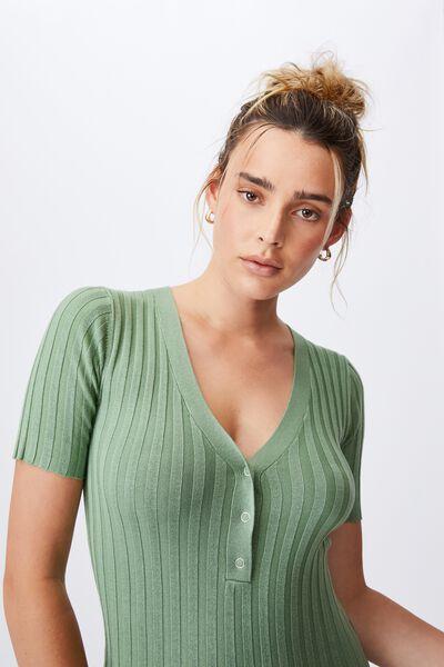 Sustain Me Henley Mini Dress, PISTACHIO GREEN