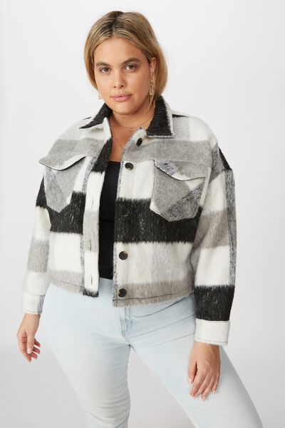 Curve Statement Jacket, GREY CHECK