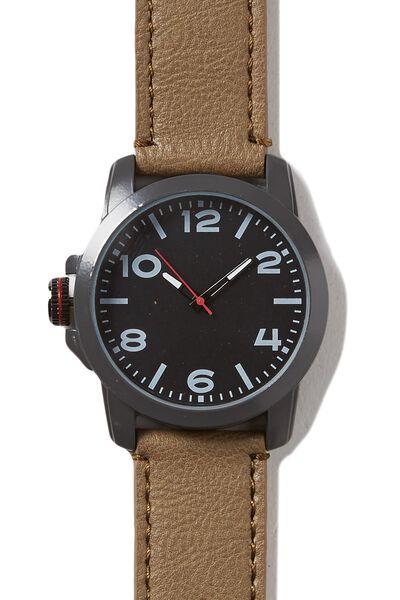 Chromeo Watch, GUNMETAL/TAUPE