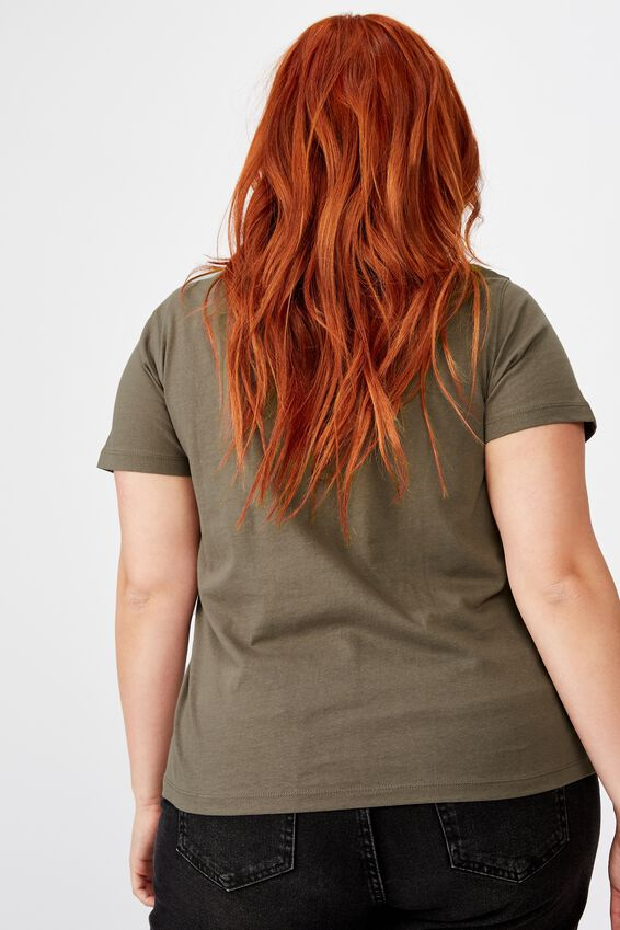Curve Graphic Fitted Tee, BLOOM IN YOUR OWN TIME/SLATE GREY