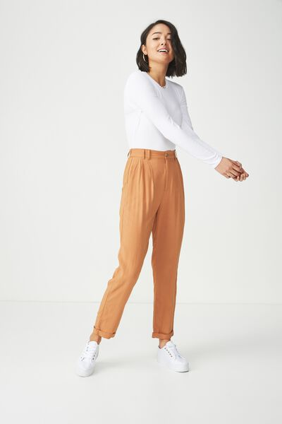 Abi High Waist Pant, BROWN OAK