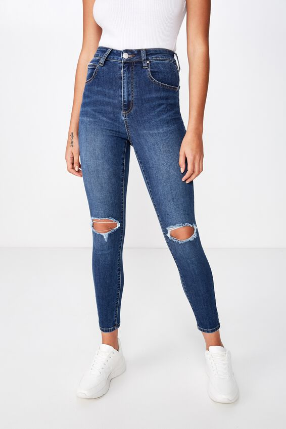 High Rise Cropped Skinny Jean, BERKLEY BLUE RIP