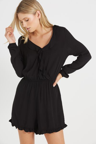 Woven Claire Long Sleeve Ruffle Playsuit, BLACK