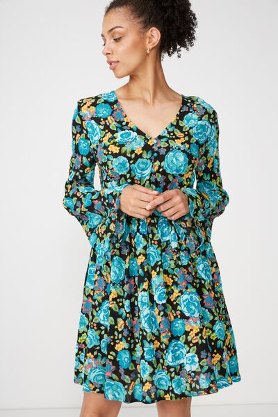 Woven Nadine Tea Dress, WHITNEY FLORAL BLUE