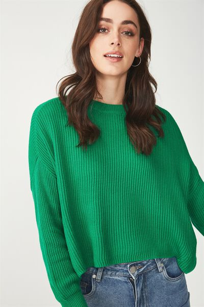 Archy Cropped Pullover, GULLY GREEN