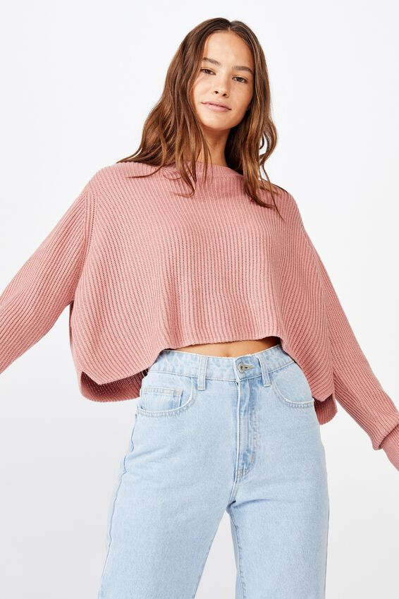 Archy Cropped 2 Pullover, OLD ROSE
