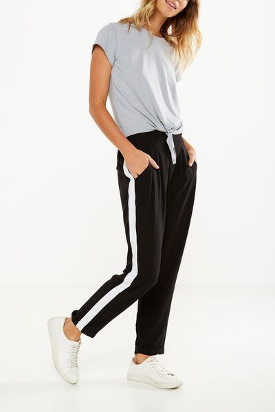 Kali Drapey Pant, BLACK/WHITE SIDE STRIPE