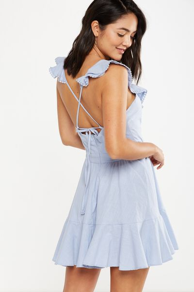 Woven Halle Halter Neck Frill Dress, BLUE HAZE