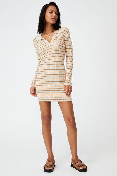 Nicola Knit Polo Long Sleeve Mini Dress, WHIT STRIPE TAPIOCA/APPLE CINNAMON