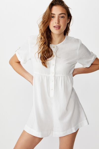 Woven Brielle Short Sleeve Playsuit, WHITE