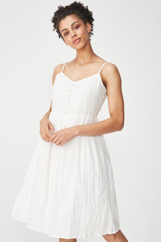 Woven Stella Broderie Midi Dress, WHITE