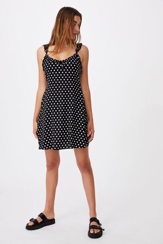 Woven Quinn Ruffle Strap Mini Dress, SALLY SPOT BLACK