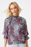 Lily Shirred Mock Neck 3/4 Frill Sleeve Blouse, MANDY MULTI DITSY TOTAL ECLIPSE