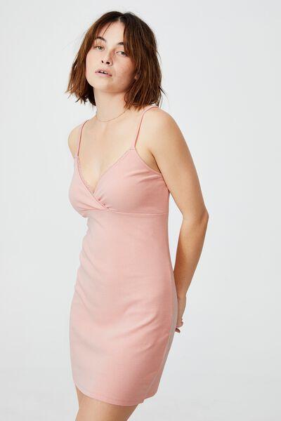 Darla Lace Cross Front Mini Dress, DUSTY PINK