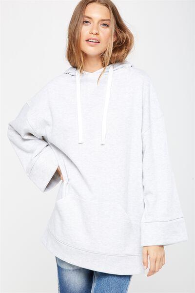Kiki Kimono Hooded Pullover, WHITE MARLE
