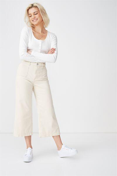 Mid Rise Wide Leg Crop Jean, ECRU CORD