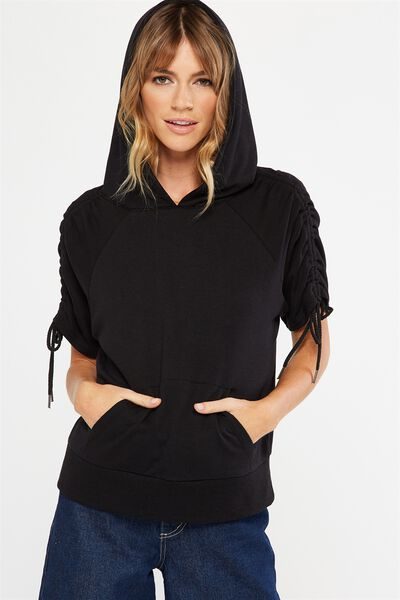 Racquel Rouched Short Sleeve Hoodie, BLACK