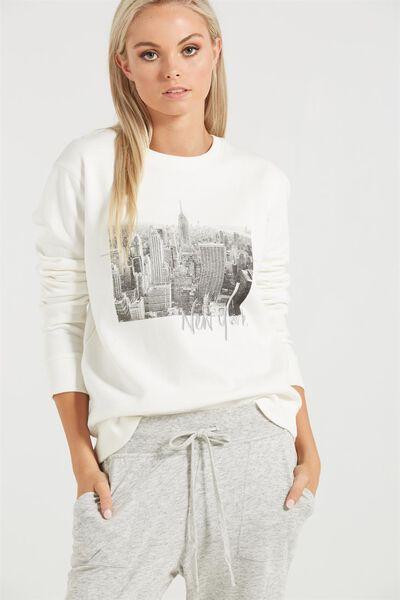 Ferguson Graphic Crew Sweater, NY PHOTO/GARDENIA