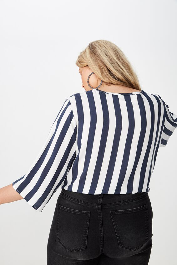 Curve Woven Front Knot Top, ANNA STRIPE TOTAL ECLIPSE