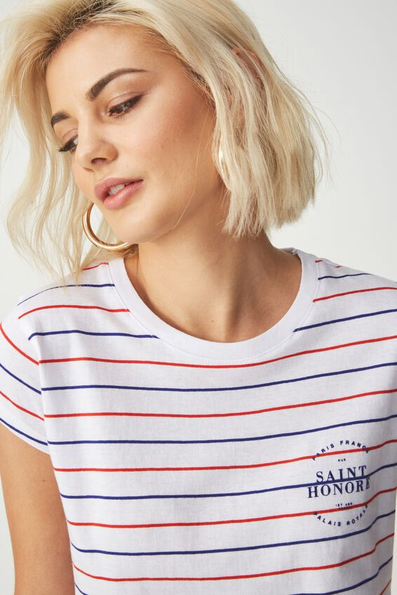 Tbar Rachael Graphic Tee Shirt, SAINT HONORE/WHITE BASE MUTLI STRIPE