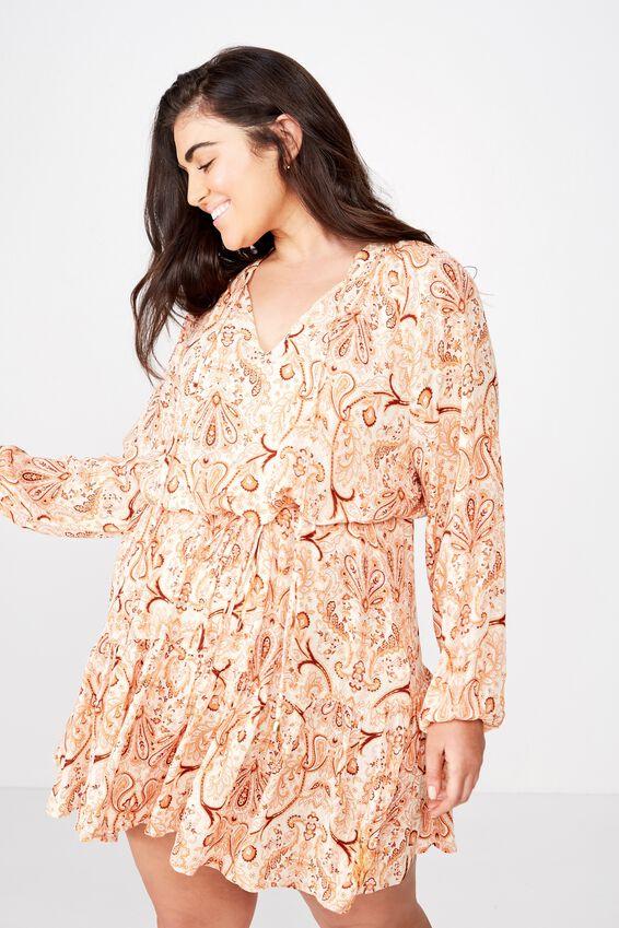Curve Woven Lacy Long Sleeve Mini Dress, MARIA PAISLEY SAND- GOLD